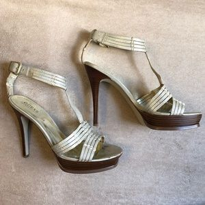 GUESS by Marciano Metallic Ankle Strap Heels.